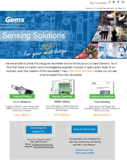 Gems Sensors & Controls Newsletter Launch